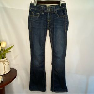 Taverniti So Jeans Billy Dark Wash Boot Low Rise Button Flap Back Pockets Mild